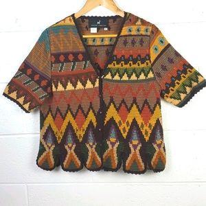 Peruvian Connection Chevron Cardigan Sweater XL